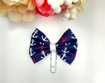 Anchor Fabric Bow Planner Paperclip Bookmark Clip     [116]