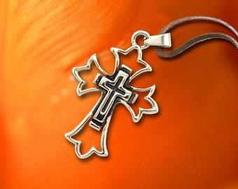 Tribal jewelry, Cross Pendant, Stainless Steel, Cross Necklace, Decorative, SLT-8