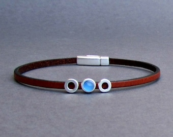 Gemstone Mens Leather Bracelet Tiny Bracelet Dainty Silver Bracelet Boyfriend Gift Mens Jewelry customized to your wrist. Width 3mm