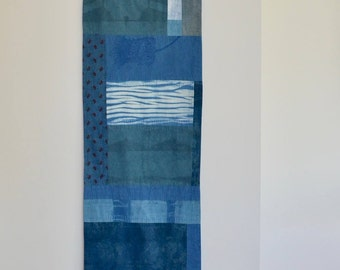 Japanese Wabi-Sabi Inspired Indigo Dyed Wallhanging