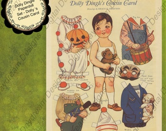 Instant Download Digital Printable Paper Dolls Dolly Dingle's Cousin Carol Collage Sheet