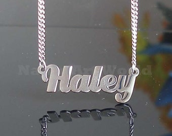 Haley name necklaces. stainless steel. next day ship. never tarnishes. shiny silver color