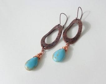 Turquoise earrings, african turquoise earrings, bronze earrings, long earrings