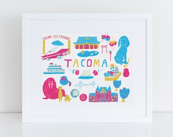 "8""x10"" Giclee Art Print, Tacoma City Art, Washington State Art, Pacific Northwest, Graduation Gift, Tacoma Historic Sites, Wall Art"