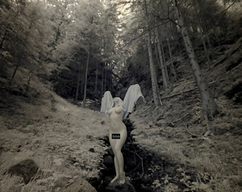 Nude worshiping nature pagan naked art female model in forest infrared fine art photo print - Priestess in Infrared - 05 - MATURE