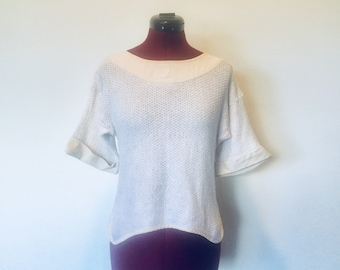 80s Cream Linen Knit Top Blouse Boat Neck Boho S M made in US by Sugar Tops