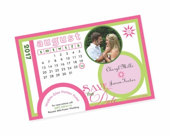 Pink and Green Save the Date Magnet with Photo, 4x6 Save the Date Photo Magnet