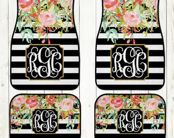 Monogram Car Mats-Car Accessories-Car Mats-Personalized Car Mats-Monograms-Stripe Car Mats-Watercolor Flowers