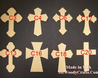 """6"""" x 9"""" 1/4"""" Thick Wooden Crosses ready for painting, No Keyholes, made in USA, ships in less then 5 days  060925"""