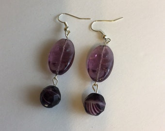 Purple Dangling Glass Bead Fish Hook Earrings