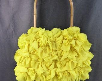 VINTAGE flowers Yellow Sun + bamboo handle purse