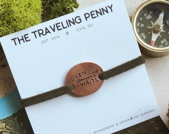 Adventure Awaits Stacking Bracelet, Adventure Jewelry, Traveler Gift, Graduation Jewelry, Mountain Jewelry, Hiker Gift, Outdoor Jewelry
