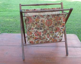 Vintage 1960s 70s Orange/Brown Floral Pattern cloth folding Sewing basket