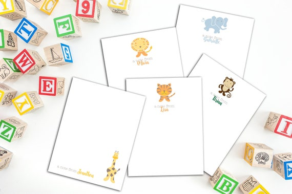 Cute Animals Note Cards, Set of ten personalized Note Cards, Cards for Children, Set of Ten Cards for Children, Thank You Cards for Kids