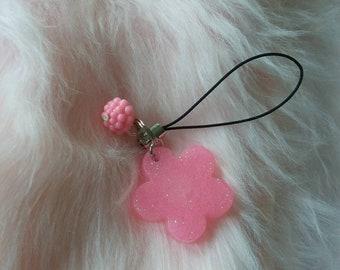 kawaii pink flower zipper pull