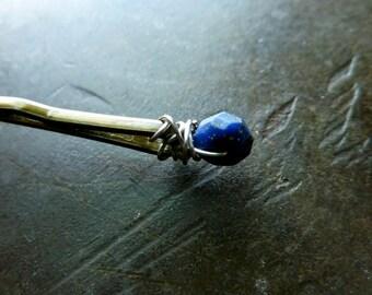 4mm natural Blue Lapis Lazuli Bobby Pin - Something Blue - Gemstone Bobby Pin