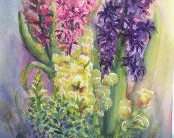 Hyacinth Bouquet (original watercolor)