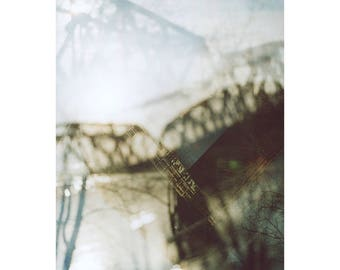 bridges: pittsburgh art abstract photography bridge photography industrial decor fine art photography multiple exposure railroad bridge art