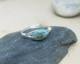 Marquise Labradorite and Silver Wire Wrapped Ring - Size 7 // Gifts for Her