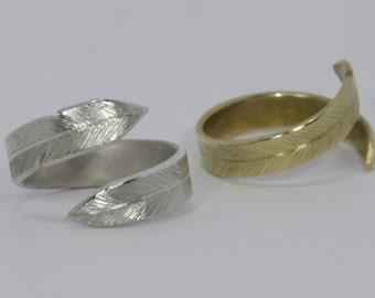 Feather Ring in Sterling Silver or Brass