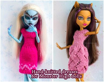 Monster high doll pink dress/Hand-knitted pink dress for Monster High doll/Monster high knitted clothes/Ever after high doll dress