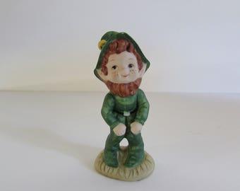 Lefton Leprechaun Figurine, Vintage Lefton Leprechaun Figurine, Figurines, Leprechaun Figurines, Porcelain Lefton Items, Porcelain Figurine
