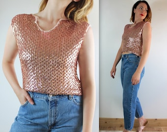 10 DOLLAR SALE • Vintage 70's Sequined Pink Knit Pullover Cropped