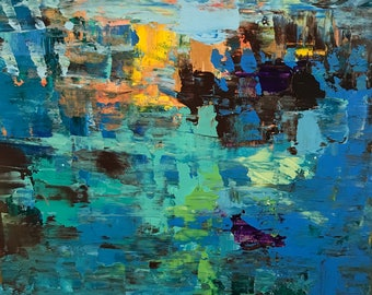 Blue, Yellow, Abstract, Painting, Art, Canvas, 12x12