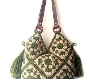 Large shoulder bag hippie crochet handbag big carryall large tote bag boho crochet bag large crochet purse with tassel women big purse boho