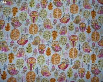 C644 owls orange/pink/green fabric (Robert Kaufman) coupon 35x50cm