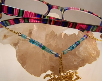 Beaded Eyeglasses Lanyards, Croakies, Cords, Elegant Chains, Holders, Necklace, Blue, Aqua, Teal, Green, Amber, Yellow, Silver, Gold