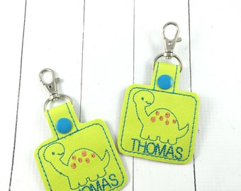 Set of TWO Personalized Dinosaur Name Tags - customized name Keyfob -diaper bag tag-backpack tag