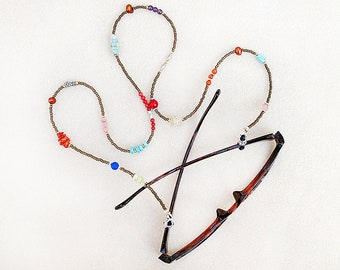 Boho Brillen Kette, Perlen, mehrfarbig, Steine, Perlen, Perlen-Sammler, Brille, Sonnenbrille-Halskette, Geschenk für Frau, Geschenk für sie zu lesen