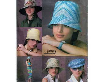 Sewing Pattern for Women's Hats and Sarong - Sunhat, Newsboy Cap, Brimmed Hat, Outdoor Hat - Vogue 7888 S