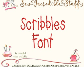 Scribbles Childish Handwriting  Machine Embroidery Font