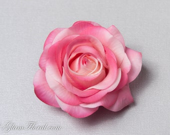 Pink Rose Flower Hair Clip, Real Touch Wedding Hair Fascinator Hair Head Piece. bridesmaids, prom, cream pink, Real Touch Flowers. Tea Rose