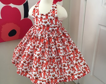 Custom Made to Order Sesame Street Elmo party dress Sz 12m to 6T