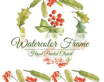 Christmas wreath, christmas frame, watercolor clipart, clipart hand painted, hand painted wreath, hand painted frame