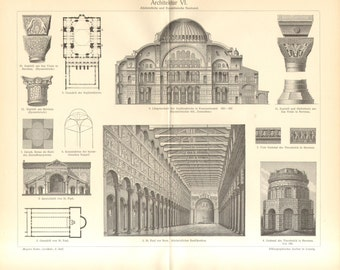 1902 Early Christian and Byzantine Architecture Vintage Engraving Print