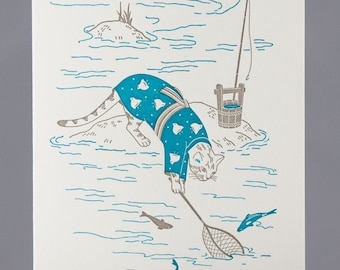Letterpress Fishing Cat Greeting Card