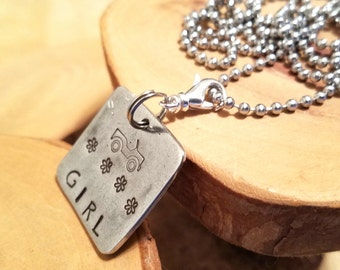 Jeep Girl hand stamped pewter square pendant charm necklace OIIIIIIIO perfect for the Jeepher