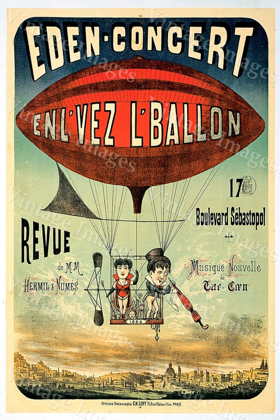 Vintage Poster 1884 French Hot Air Balloon Poster Eden Concert Poster Old French Poster fine art print wall decor