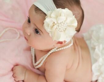 Ivory Pearl Flower Headband, Baby Flower Headband, Baby Girl Headband, Big Flower Headband, Flower Girl Headband, Ivory Headband, 985