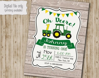 John Deere Tractor Birthday Invitation, Rustic Wood birthday, Green Tractor, John Deere Birthday, Boy Birthday Invitation