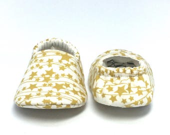 3-6mo RTS Baby Moccs: Stars / Twinkle Lights / Crib Shoes / Baby Shoes / Baby Moccasins / Vegan Moccs / Soft Soled Shoes / Montessori Shoes