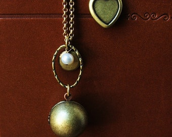 The Hiding Place-Brass Locket Necklace with Freshwater Pearl accent