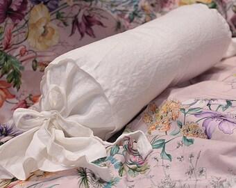 """Luxury Linen neck roll pillow - linen bolster - goose down - 6""""x16"""" - shabby bolster"""