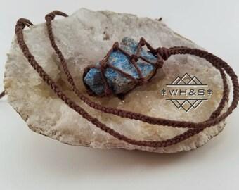 Hemp Wrapped Rough Apatite Necklace, Raw Apatite Jewelry, Healing Crystal Jewelry, Healing Crystal Necklace, Stone Pendant