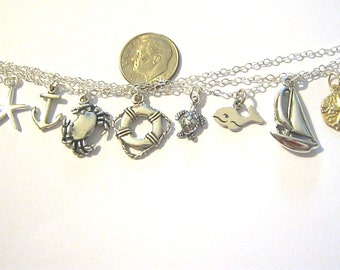 Add a Sterling Silver Beach Charm or Gold Fill Charm to Necklace or Bracelet, You Choose Charm