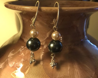 Swarovski pearl and Sterling silver dangle earrings